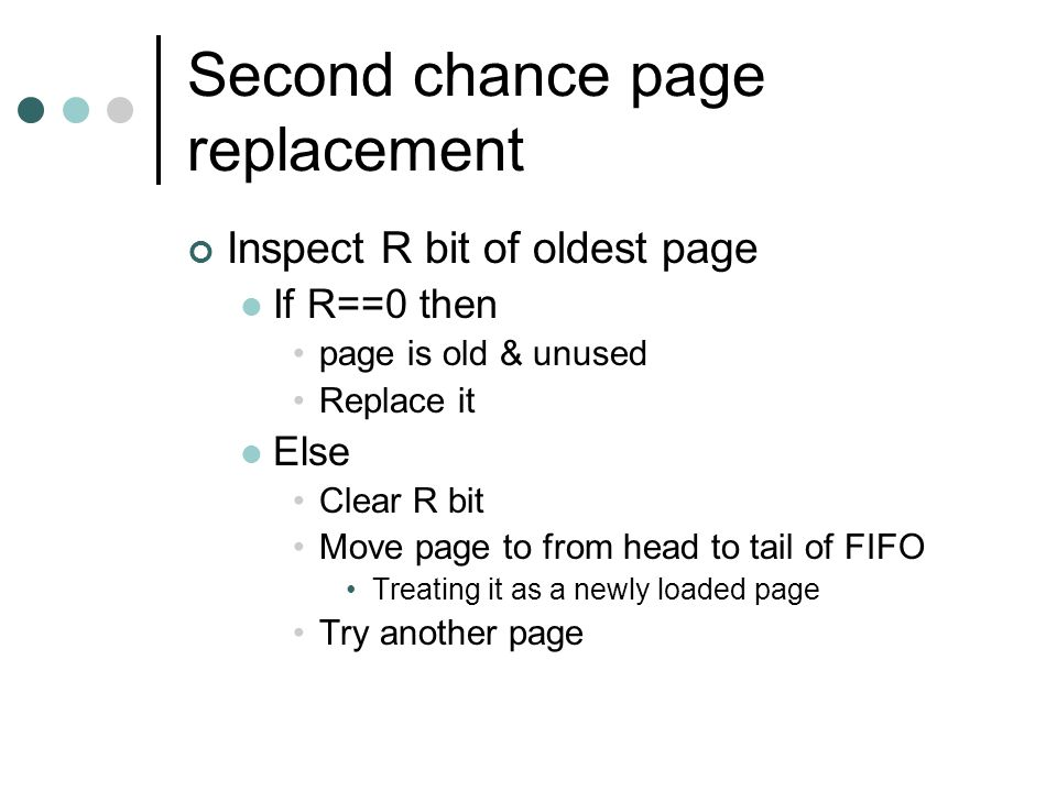 Second chance page replacement load time page