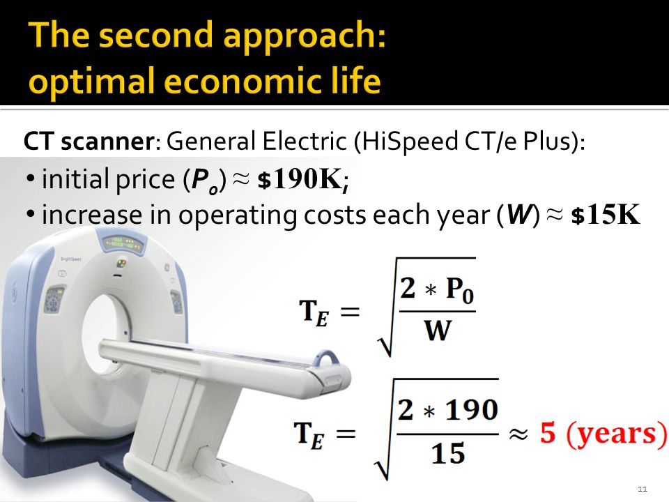 CT scanner: General Electric (HiSpeed CT/e Plus): initial price (P 0 ) $ 190K ; increase in operating costs each year (W) $ 15K 11