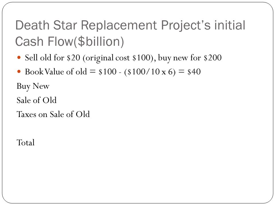 Death Star Replacement Projects initial Cash Flow($billion) Sell old for $20 (original cost $100), buy new for $200 Book Value of old = $100 - ($100/1