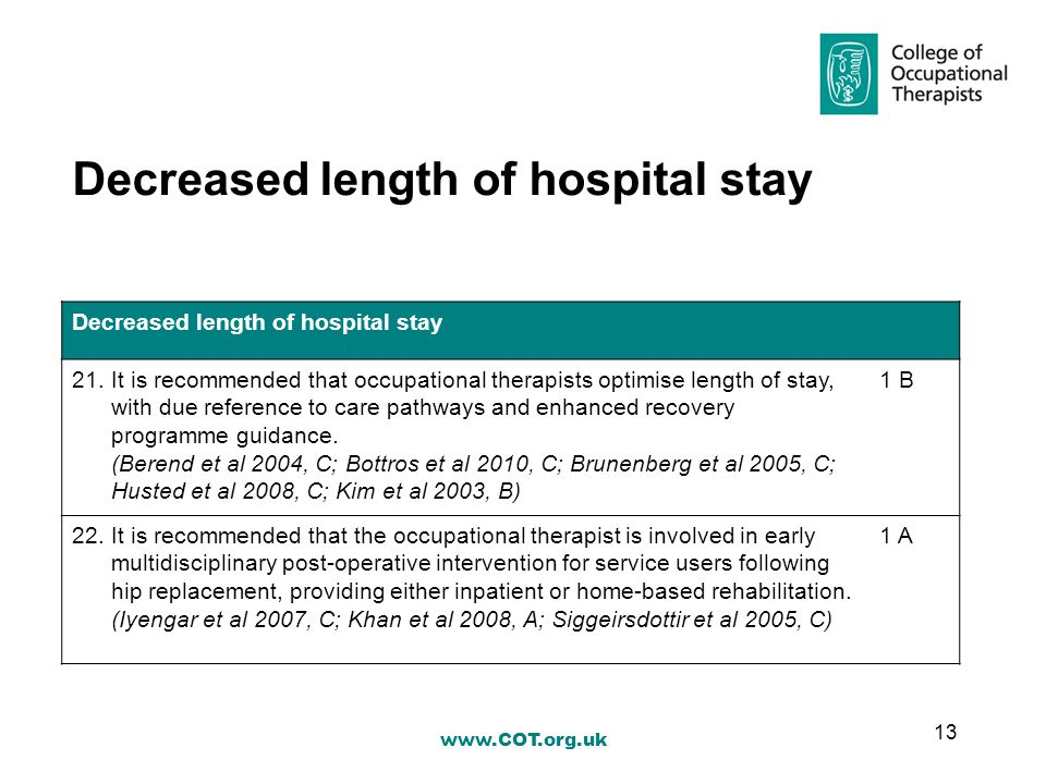 Decreased length of hospital stay 21.