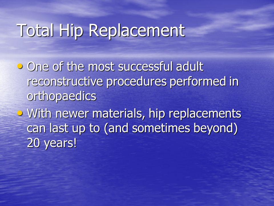 Total Hip Replacement One of the most successful adult reconstructive procedures performed in orthopaedics One of the most successful adult reconstruc