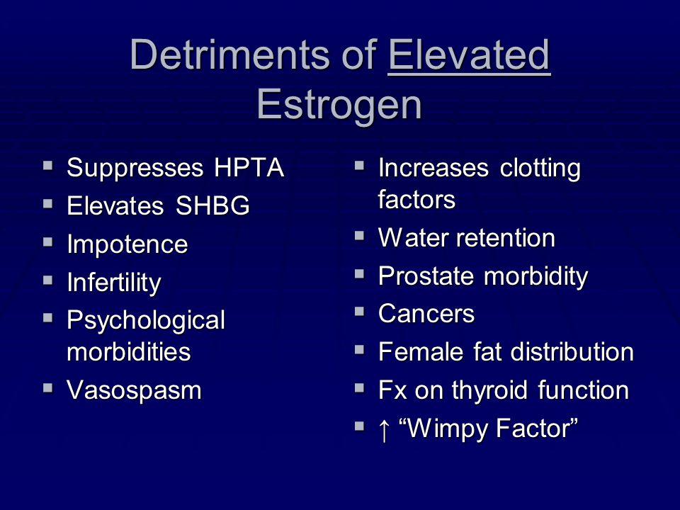 Detriments of Elevated Estrogen Suppresses HPTA Suppresses HPTA Elevates SHBG Elevates SHBG Impotence Impotence Infertility Infertility Psychological