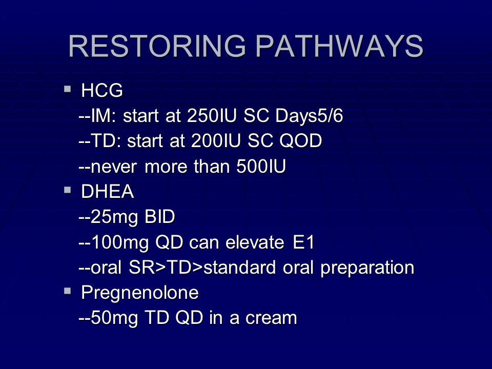 RESTORING PATHWAYS HCG HCG --IM: start at 250IU SC Days5/6 --IM: start at 250IU SC Days5/6 --TD: start at 200IU SC QOD --TD: start at 200IU SC QOD --n
