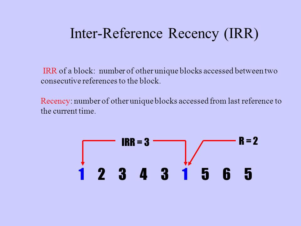 Inter-Reference Recency (IRR) IRR of a block: number of other unique blocks accessed between two consecutive references to the block. Recency: number