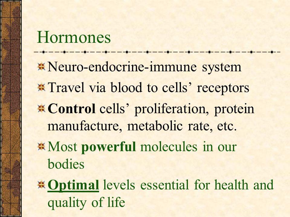 Hormones Neuro-endocrine-immune system Travel via blood to cells receptors Control cells proliferation, protein manufacture, metabolic rate, etc.