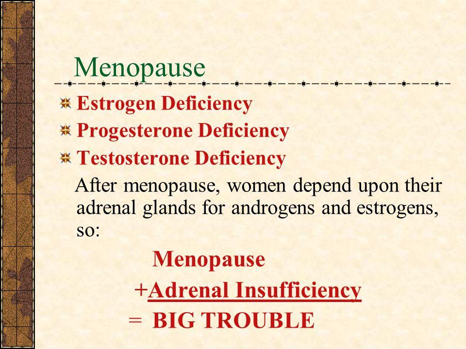 Menopause Estrogen Deficiency Progesterone Deficiency Testosterone Deficiency After menopause, women depend upon their adrenal glands for androgens and estrogens, so: Menopause +Adrenal Insufficiency =BIG TROUBLE