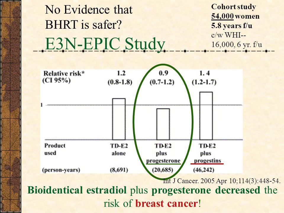 E3N-EPIC Study Bioidentical estradiol plus progesterone decreased the risk of breast cancer.