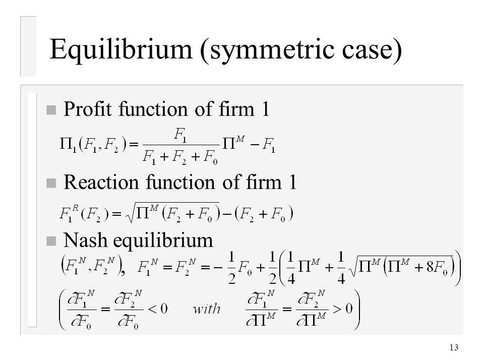 13 Equilibrium (symmetric case) n Profit function of firm 1 n Reaction function of firm 1 n Nash equilibrium,