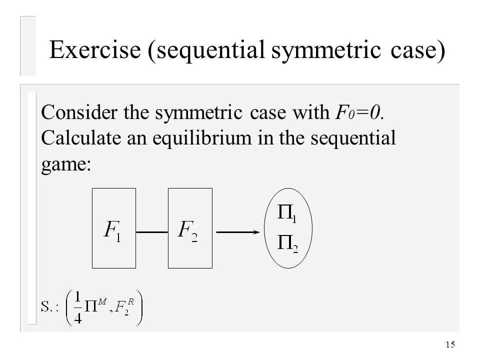 15 Exercise (sequential symmetric case) Consider the symmetric case with F 0 =0. Calculate an equilibrium in the sequential game: