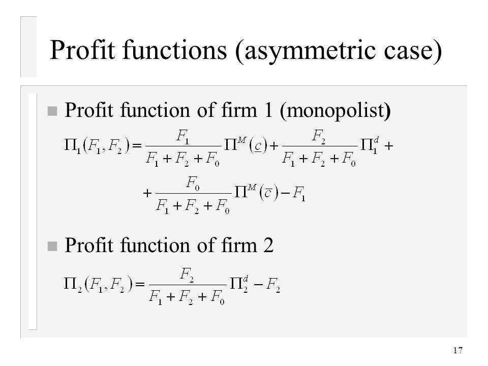 17 Profit functions (asymmetric case) n Profit function of firm 1 (monopolist) n Profit function of firm 2