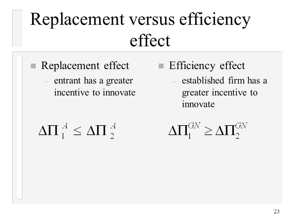 23 Replacement versus efficiency effect n Replacement effect – entrant has a greater incentive to innovate n Efficiency effect – established firm has