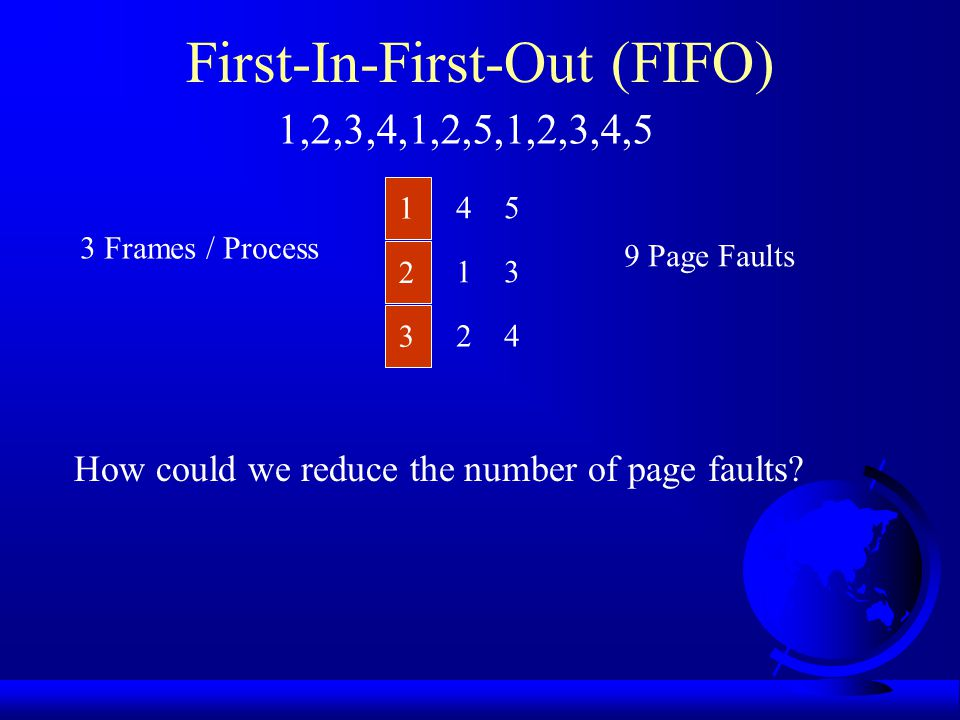 First-In-First-Out (FIFO) 1 2 3 3 Frames / Process 1,2,3,4,1,2,5,1,2,3,4,5 4 1 2 5 3 4 9 Page Faults How could we reduce the number of page faults?