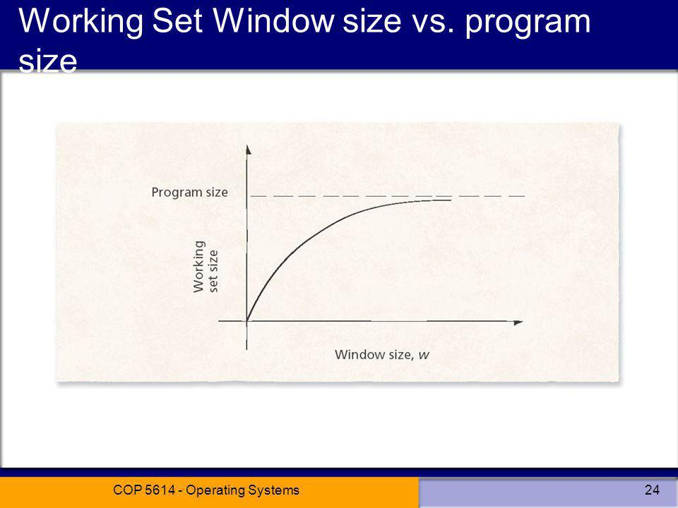 COP 5614 - Operating Systems24 Working Set Window size vs. program size