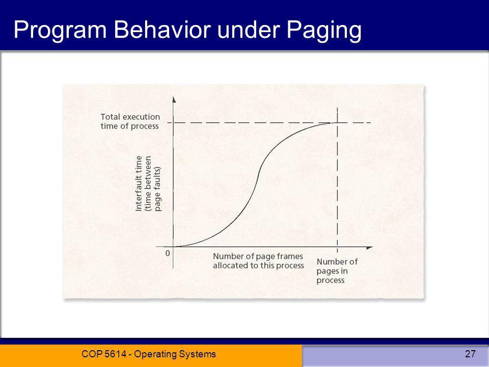 COP 5614 - Operating Systems27 Program Behavior under Paging