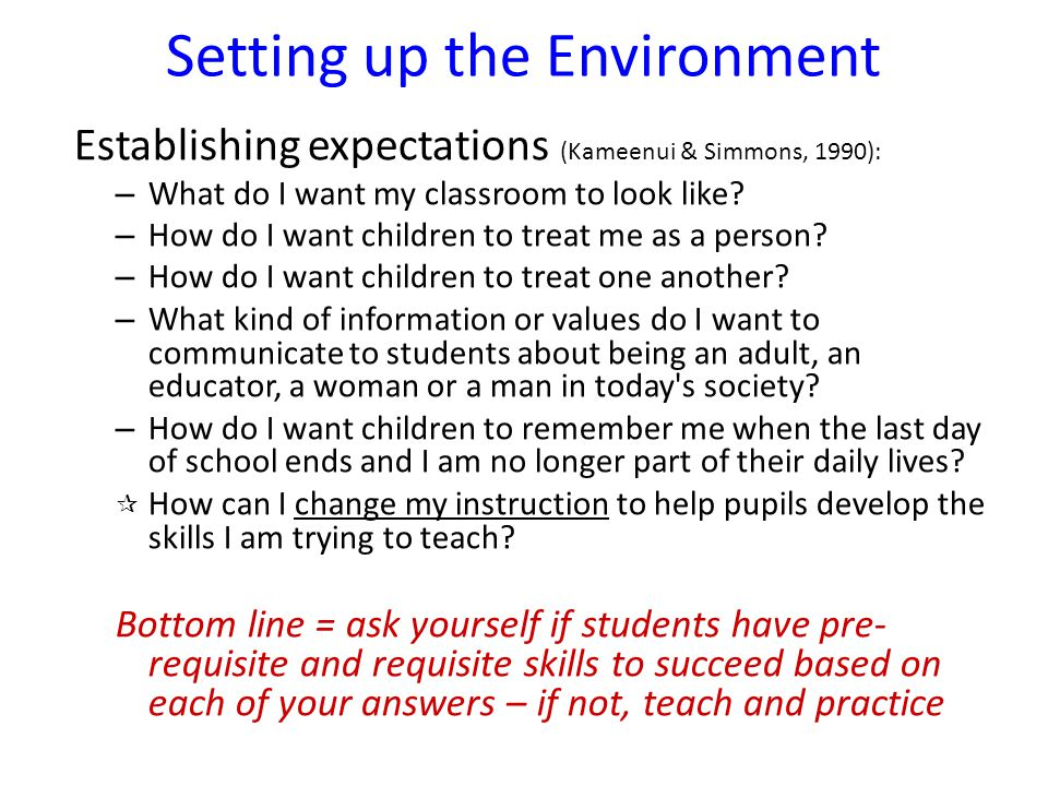 Setting up the Environment Establishing expectations (Kameenui & Simmons, 1990): – What do I want my classroom to look like? – How do I want children