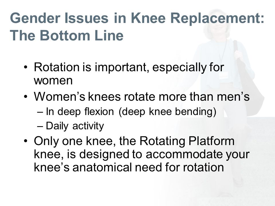 Gender Issues in Knee Replacement: The Bottom Line Rotation is important, especially for women Womens knees rotate more than mens –In deep flexion (deep knee bending) –Daily activity Only one knee, the Rotating Platform knee, is designed to accommodate your knees anatomical need for rotation