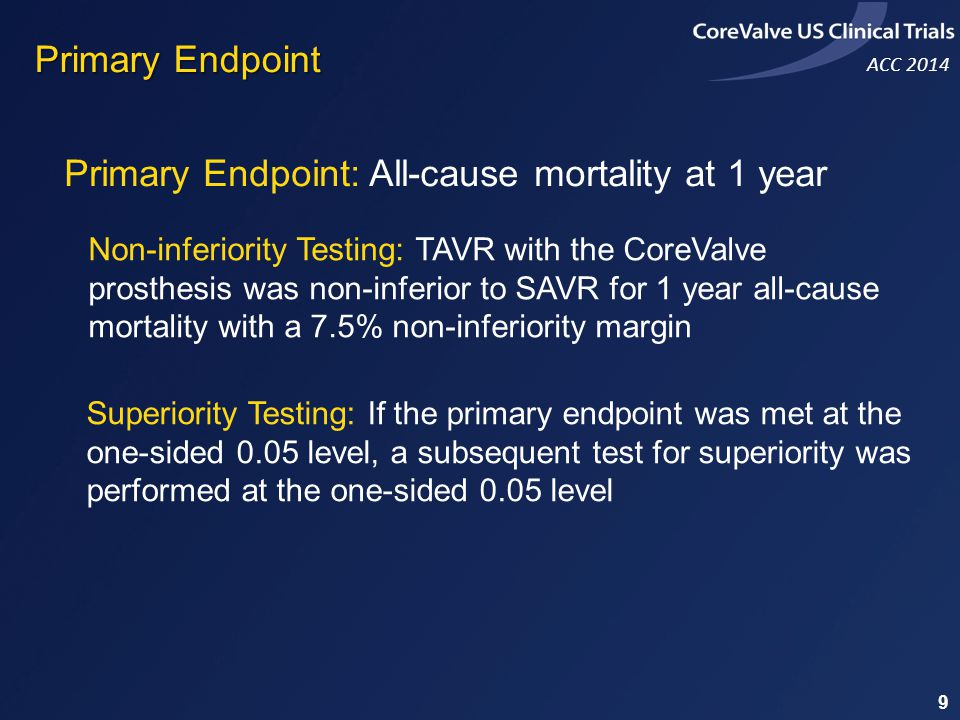 We assessed the safety and effectiveness of TAVR with the CoreValve prosthesis compared to surgical valve replacement in symptomatic patients with severe aortic stenosis at increased surgical risk The rate of death from any cause at 1 year was significantly reduced with TAVR performed with the CoreValve prosthesis Conclusion 40