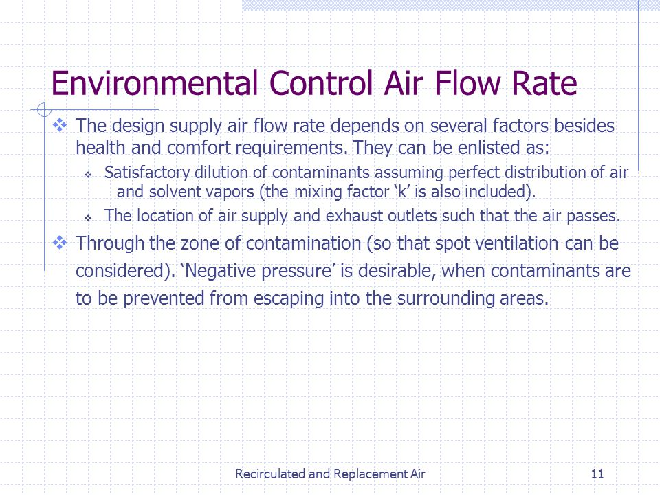 Recirculated and Replacement Air11 The design supply air flow rate depends on several factors besides health and comfort requirements. They can be enl