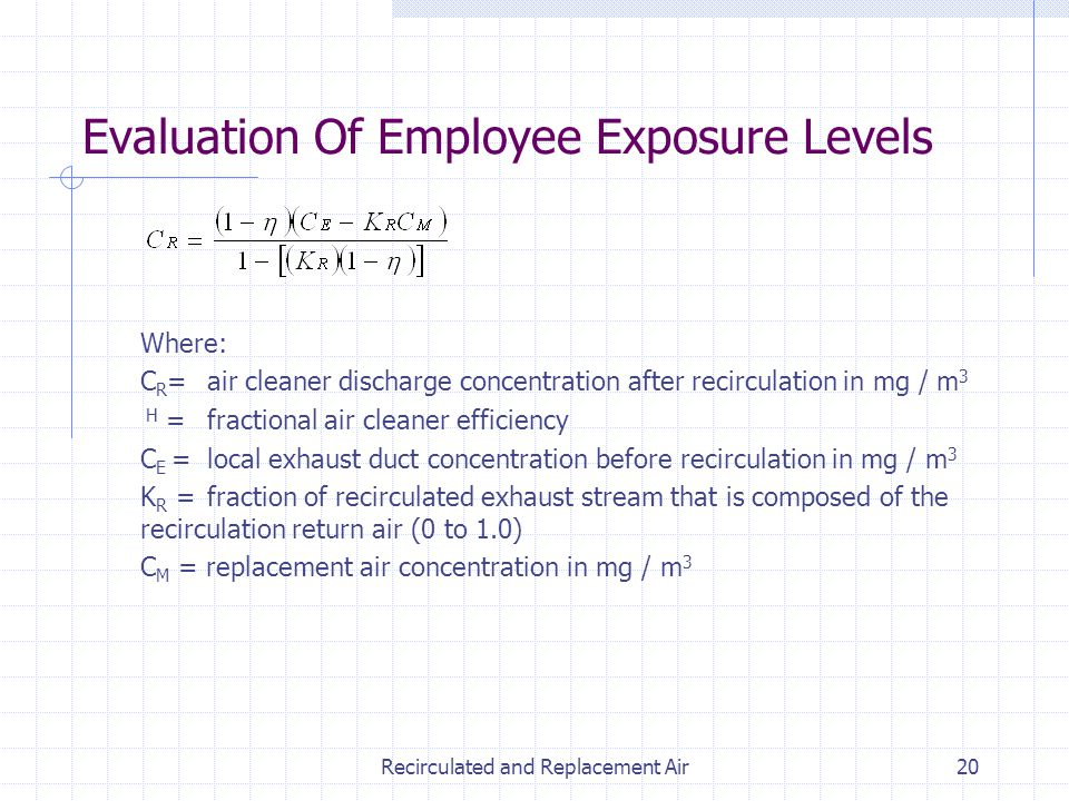Recirculated and Replacement Air20 Evaluation Of Employee Exposure Levels Where: C R = air cleaner discharge concentration after recirculation in mg /