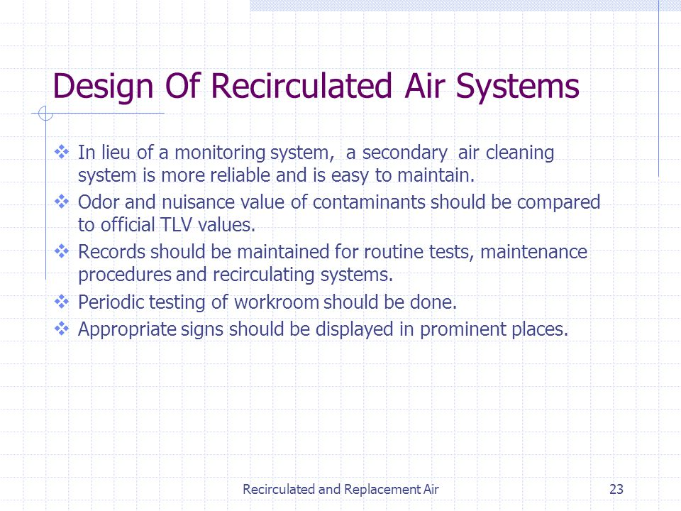 Recirculated and Replacement Air23 In lieu of a monitoring system, a secondary air cleaning system is more reliable and is easy to maintain. Odor and