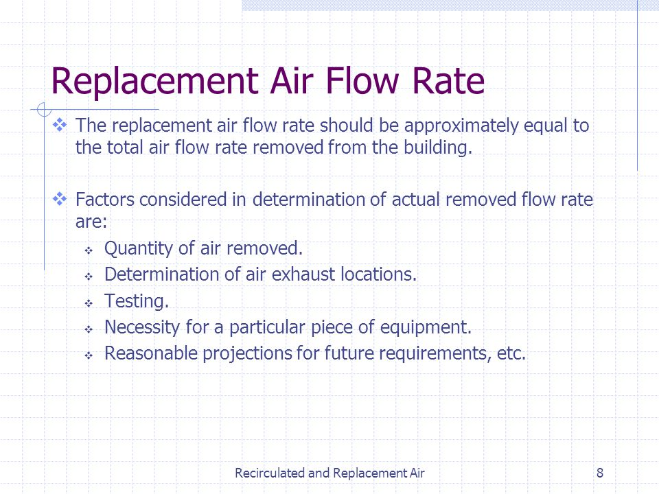 Recirculated and Replacement Air8 Replacement Air Flow Rate The replacement air flow rate should be approximately equal to the total air flow rate rem