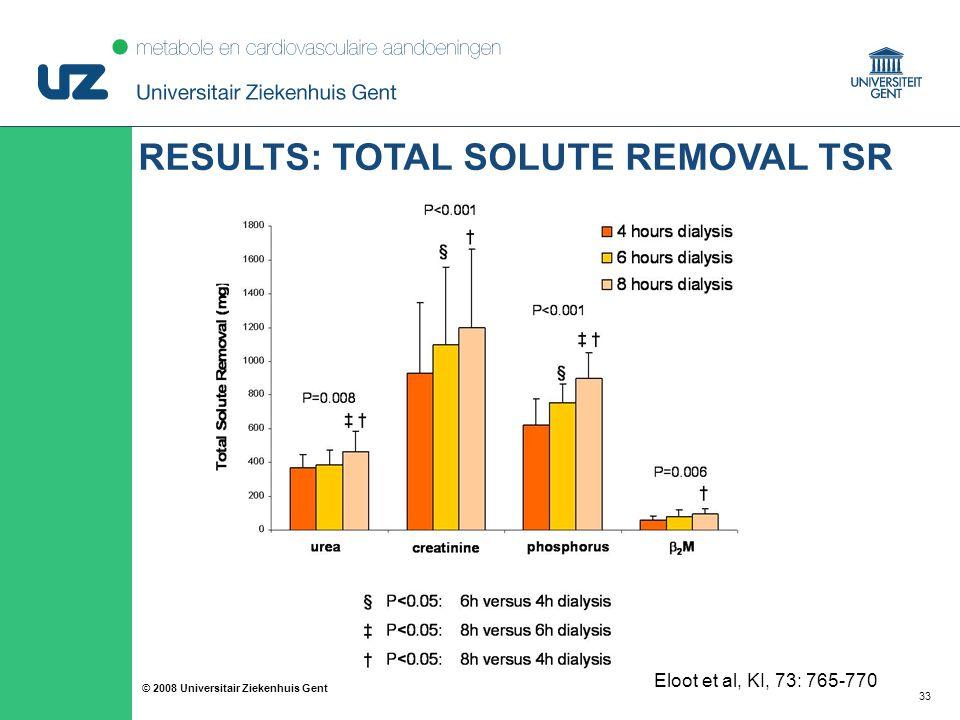 33 © 2008 Universitair Ziekenhuis Gent Eloot et al, KI, 73: 765-770 RESULTS: TOTAL SOLUTE REMOVAL TSR