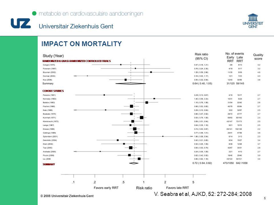 55 © 2008 Universitair Ziekenhuis Gent IMPACT ON MORTALITY V. Seabra et al, AJKD, 52: 272-284; 2008
