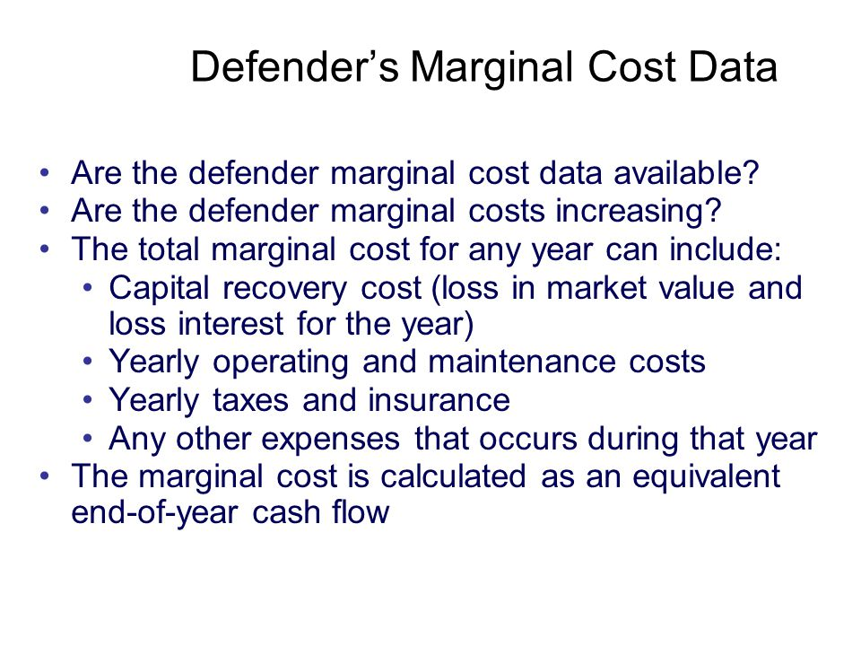 Copyright Oxford University Press 2009 Are the defender marginal cost data available.