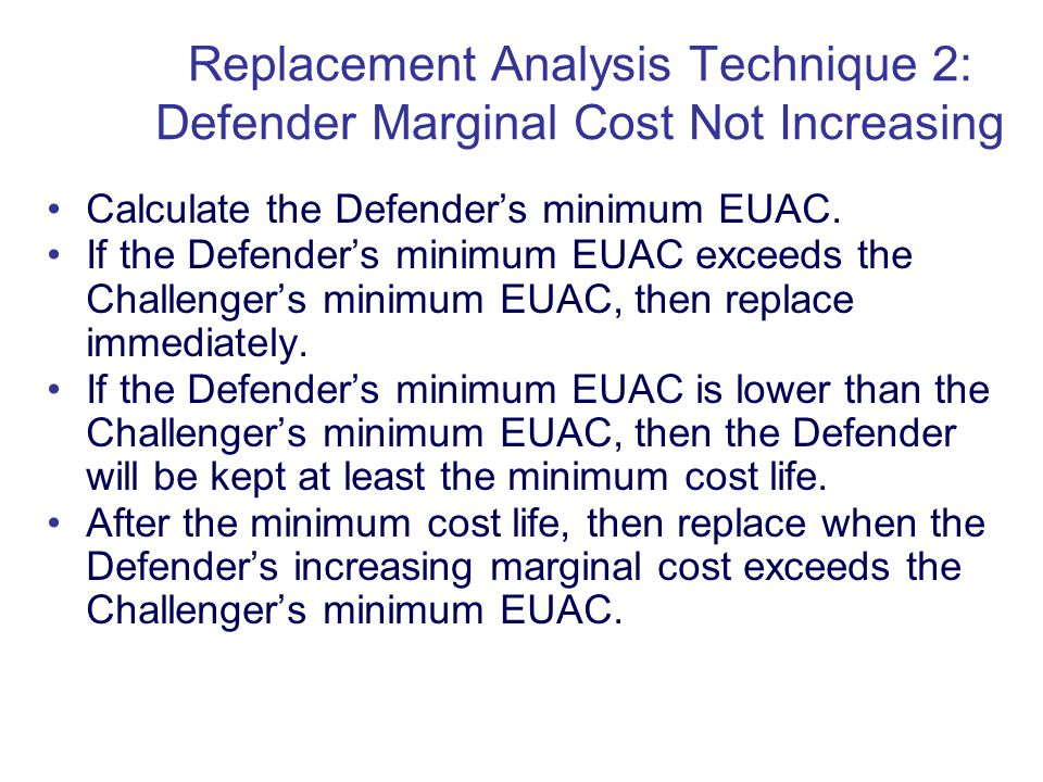 Copyright Oxford University Press 2009 Calculate the Defenders minimum EUAC.