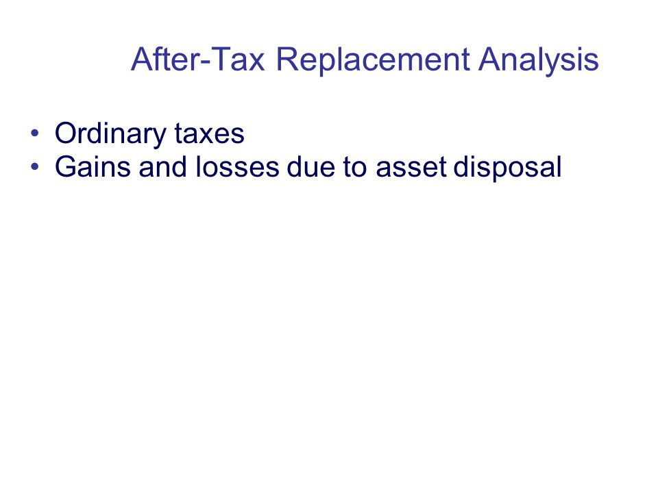 Copyright Oxford University Press 2009 Ordinary taxes Gains and losses due to asset disposal After-Tax Replacement Analysis