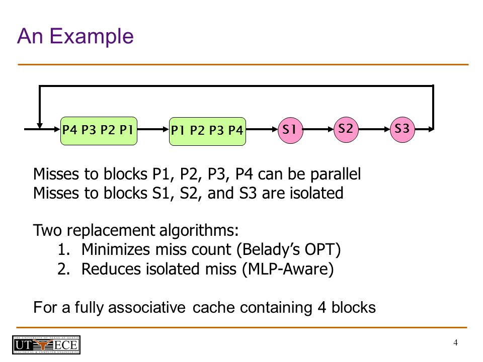 4 An Example Misses to blocks P1, P2, P3, P4 can be parallel Misses to blocks S1, S2, and S3 are isolated Two replacement algorithms: 1.Minimizes miss count (Beladys OPT) 2.Reduces isolated miss (MLP-Aware) For a fully associative cache containing 4 blocks S1 P4 P3 P2 P1 P1 P2 P3 P4 S2S3