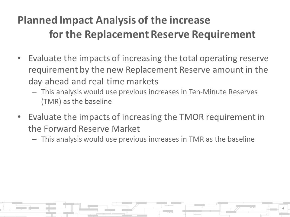 Planned Impact Analysis of the increase for the Replacement Reserve Requirement Evaluate the impacts of increasing the total operating reserve require