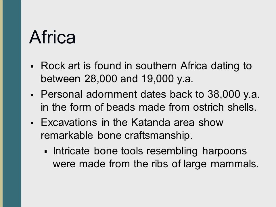 Africa Rock art is found in southern Africa dating to between 28,000 and 19,000 y.a. Personal adornment dates back to 38,000 y.a. in the form of beads