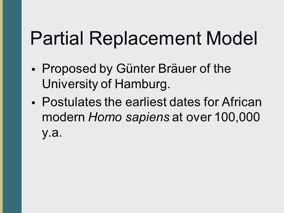 Partial Replacement Model Proposed by Günter Bräuer of the University of Hamburg. Postulates the earliest dates for African modern Homo sapiens at ove