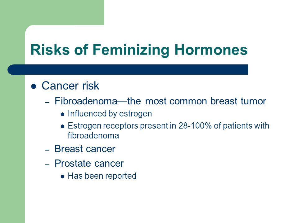 Risks of Feminizing Hormones Cancer risk – Fibroadenomathe most common breast tumor Influenced by estrogen Estrogen receptors present in 28-100% of pa