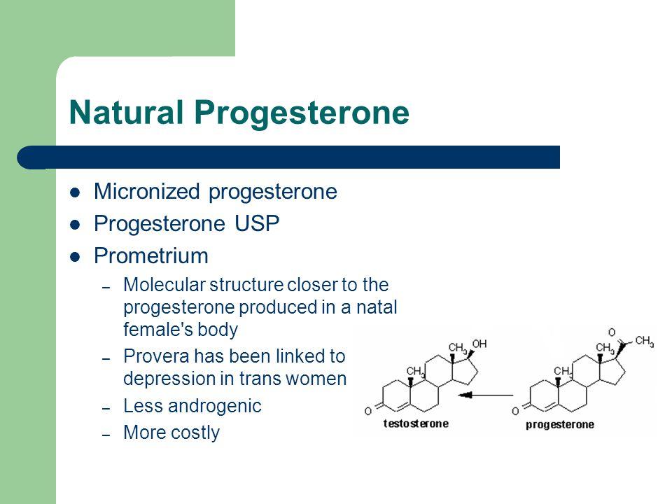 Natural Progesterone Micronized progesterone Progesterone USP Prometrium – Molecular structure closer to the progesterone produced in a natal female's