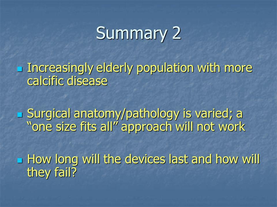 Summary 2 Increasingly elderly population with more calcific disease Increasingly elderly population with more calcific disease Surgical anatomy/patho