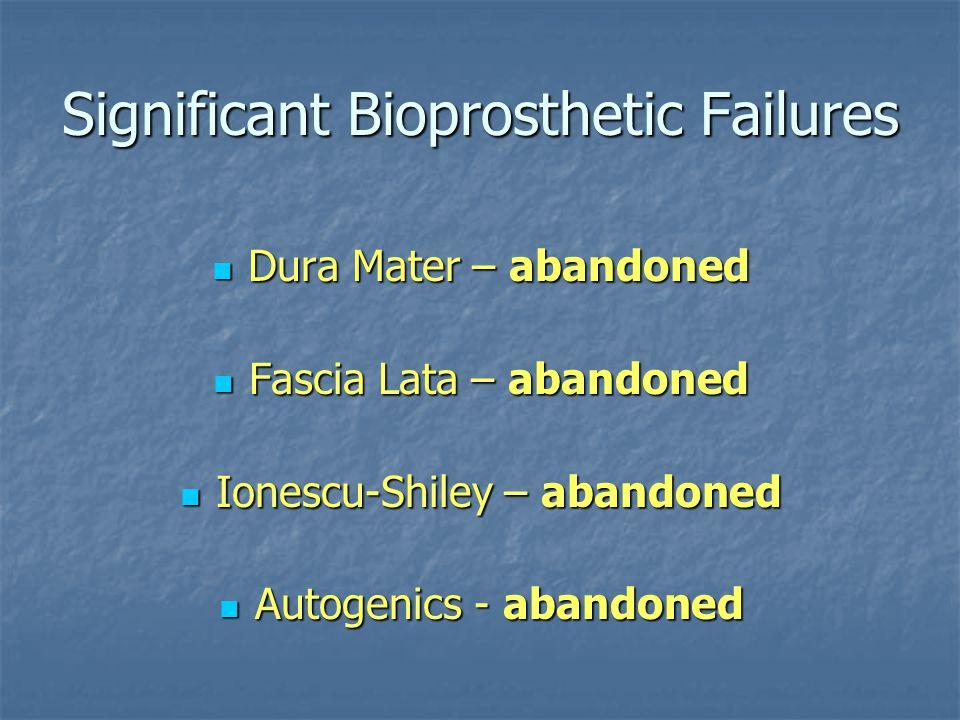 Significant Bioprosthetic Failures Dura Mater – abandoned Dura Mater – abandoned Fascia Lata – abandoned Fascia Lata – abandoned Ionescu-Shiley – aban