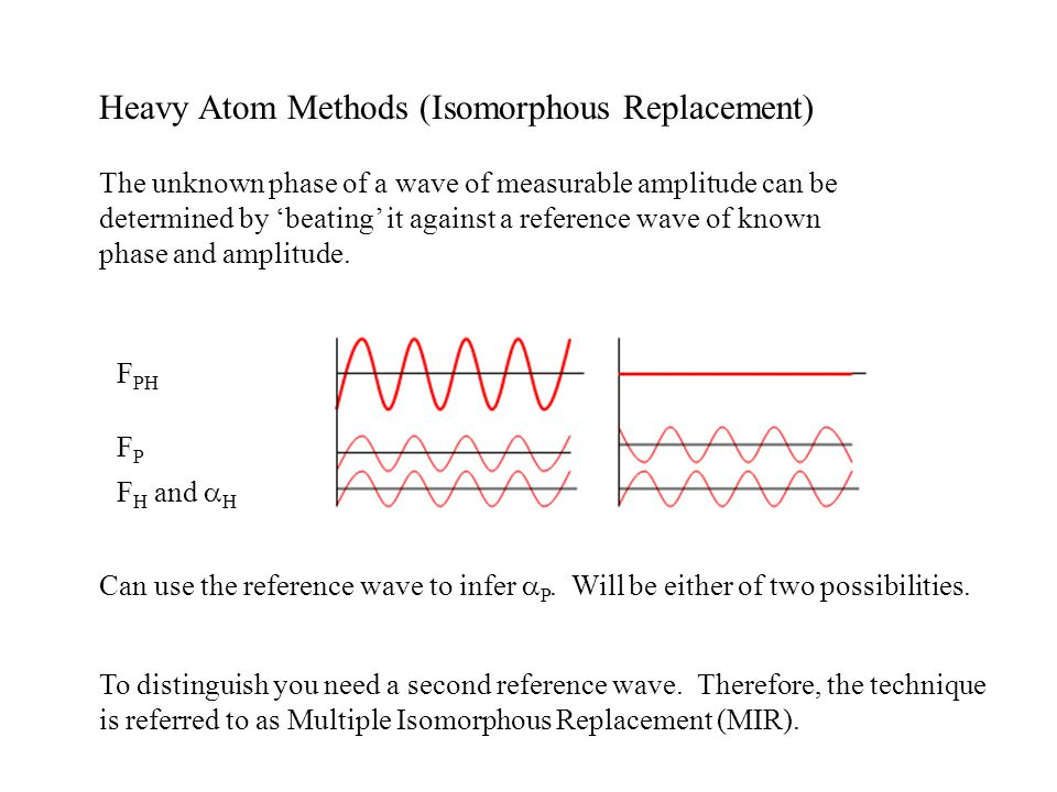 Heavy Atom Methods (Isomorphous Replacement) The unknown phase of a wave of measurable amplitude can be determined by beating it against a reference w