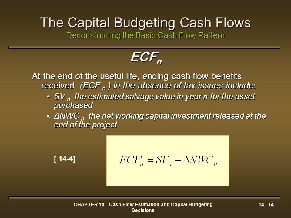 CHAPTER 14 – Cash Flow Estimation and Capital Budgeting Decisions 14 - 14 The Capital Budgeting Cash Flows Deconstructing the Basic Cash Flow Pattern