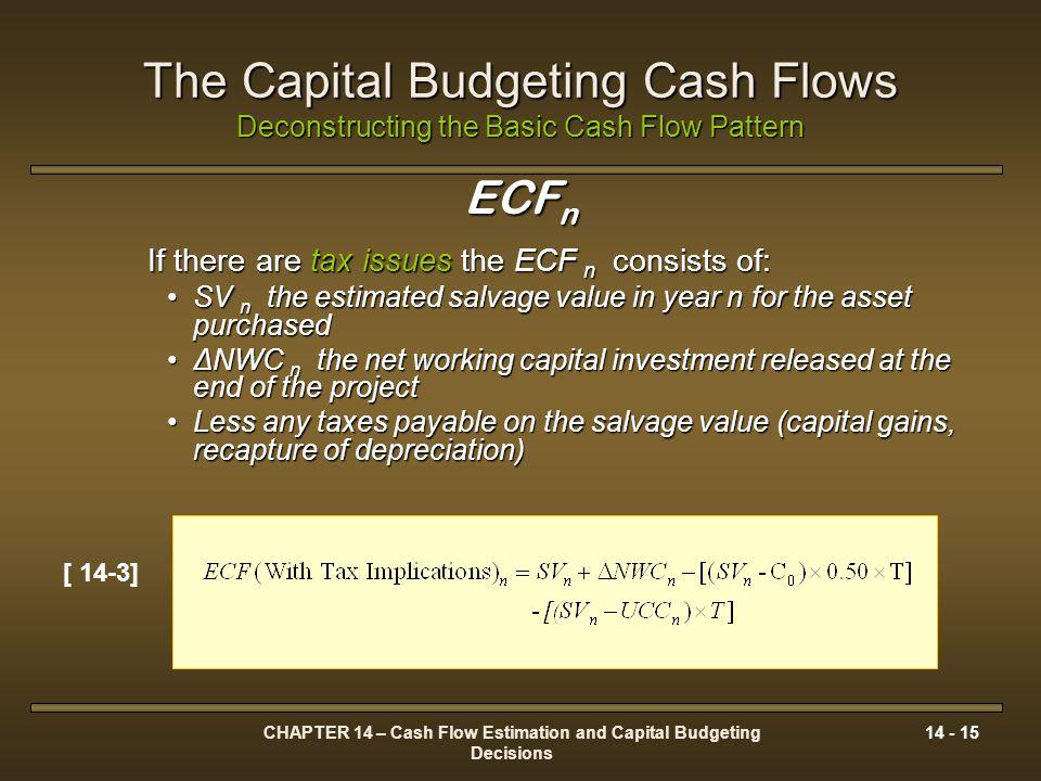 CHAPTER 14 – Cash Flow Estimation and Capital Budgeting Decisions 14 - 15 The Capital Budgeting Cash Flows Deconstructing the Basic Cash Flow Pattern