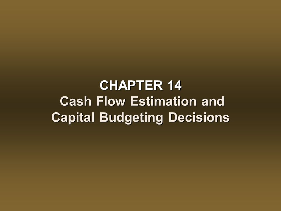CHAPTER 14 – Cash Flow Estimation and Capital Budgeting Decisions 14 - 13 The Capital Budgeting Cash Flows Deconstructing the Basic Cash Flow Pattern CF t There follows an annual stream of after tax cash flow benefits (CF t ) consisting of: Operating after-tax cash flow benefits (OCF t ) = CFBT t (1 – T)Operating after-tax cash flow benefits (OCF t ) = CFBT t (1 – T) Tax shield benefits from CCATax shield benefits from CCA [ 14-2]