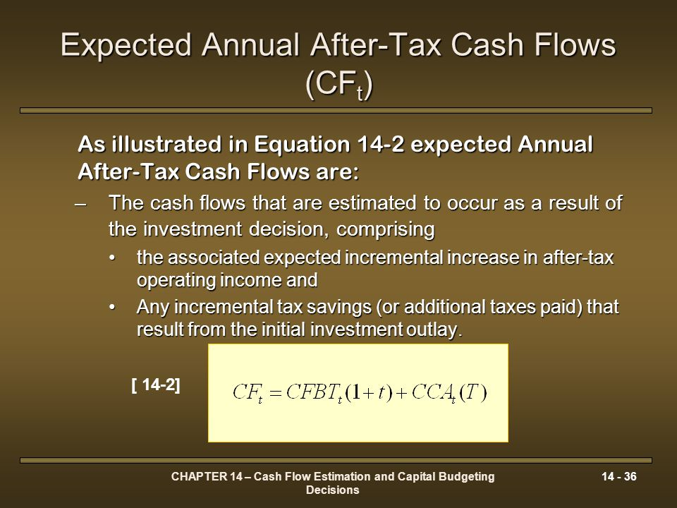 CHAPTER 14 – Cash Flow Estimation and Capital Budgeting Decisions 14 - 36 Expected Annual After-Tax Cash Flows (CF t ) As illustrated in Equation 14-2