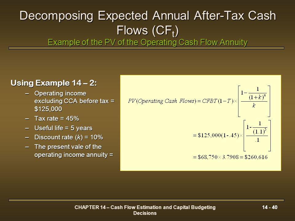 CHAPTER 14 – Cash Flow Estimation and Capital Budgeting Decisions 14 - 40 Decomposing Expected Annual After-Tax Cash Flows (CF t ) Example of the PV o