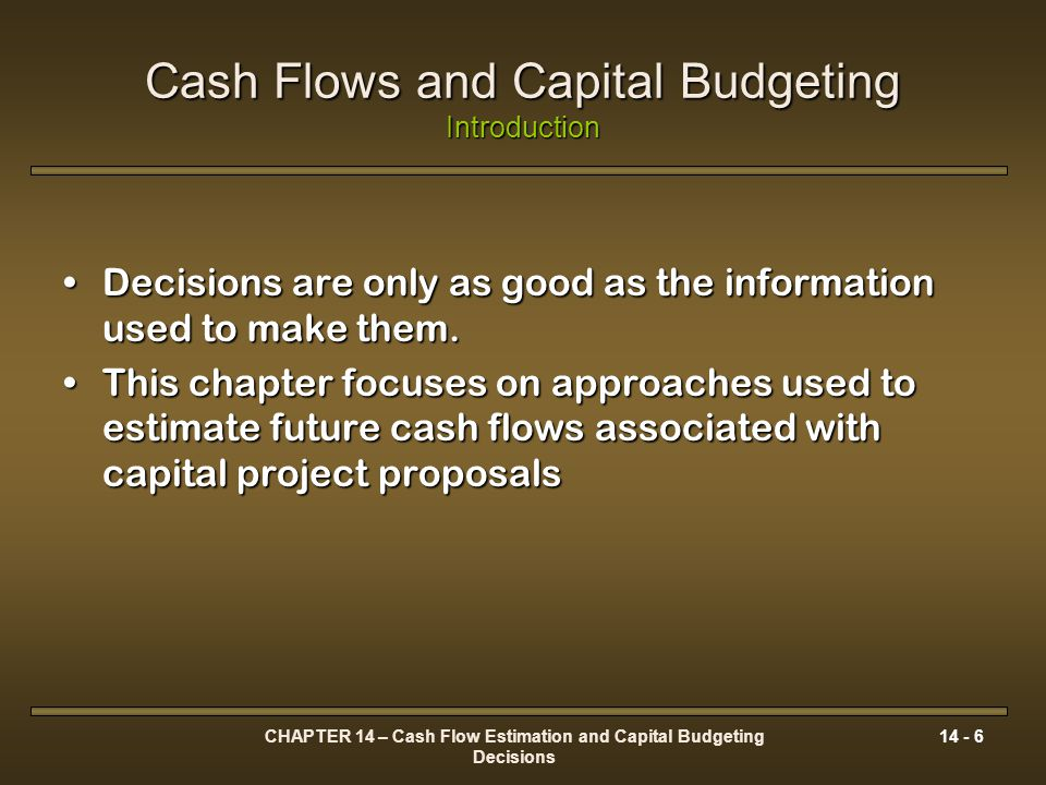 CHAPTER 14 – Cash Flow Estimation and Capital Budgeting Decisions 14 - 67 Risk Adjusted Discount Rates Using the CAPM β Market = 1 Required Return RF β M ER M β Project = 1.5 ER Project Risk Premium for project systematic risk Real rate of return Premium for expected inflation