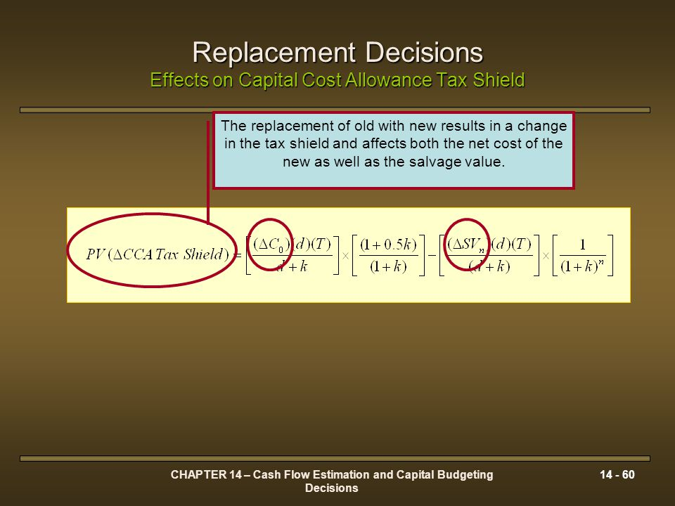 CHAPTER 14 – Cash Flow Estimation and Capital Budgeting Decisions 14 - 60 Replacement Decisions Effects on Capital Cost Allowance Tax Shield The repla