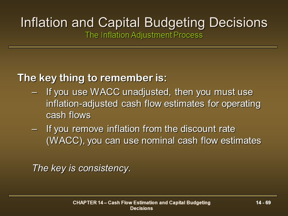 CHAPTER 14 – Cash Flow Estimation and Capital Budgeting Decisions 14 - 69 Inflation and Capital Budgeting Decisions The Inflation Adjustment Process T