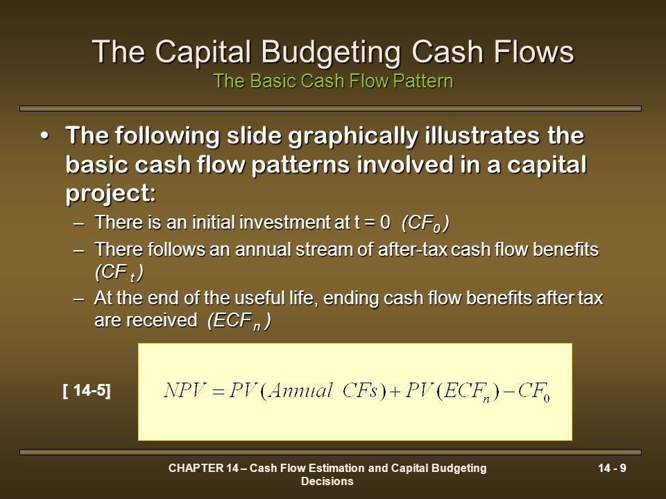 CHAPTER 14 – Cash Flow Estimation and Capital Budgeting Decisions 14 - 10 The Capital Budgeting Cash Flows The Basic Cash Flow Pattern Initial After- Tax Cash Flow (CF 0 ) Expected Annual After-Tax Operating Cash Flows (CF tt ) t=123n-1n CF 1 CF 2 CF 3 CF N-1 CF N Terminal Cash Flow (ECF n ) If CF 0 < PV of CF t, then benefits exceeds costs, the NPV is positive.