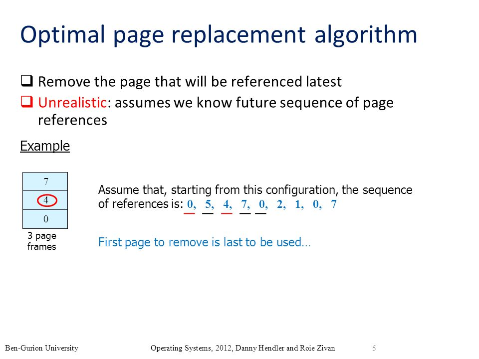 Optimal page replacement algorithm Remove the page that will be referenced latest Unrealistic: assumes we know future sequence of page references Example 7 4 0 Assume that, starting from this configuration, the sequence of references is: 0, 5, 4, 7, 0, 2, 1, 0, 7 First page to remove is last to be used… 5 Ben-Gurion University Operating Systems, 2012, Danny Hendler and Roie Zivan 3 page frames