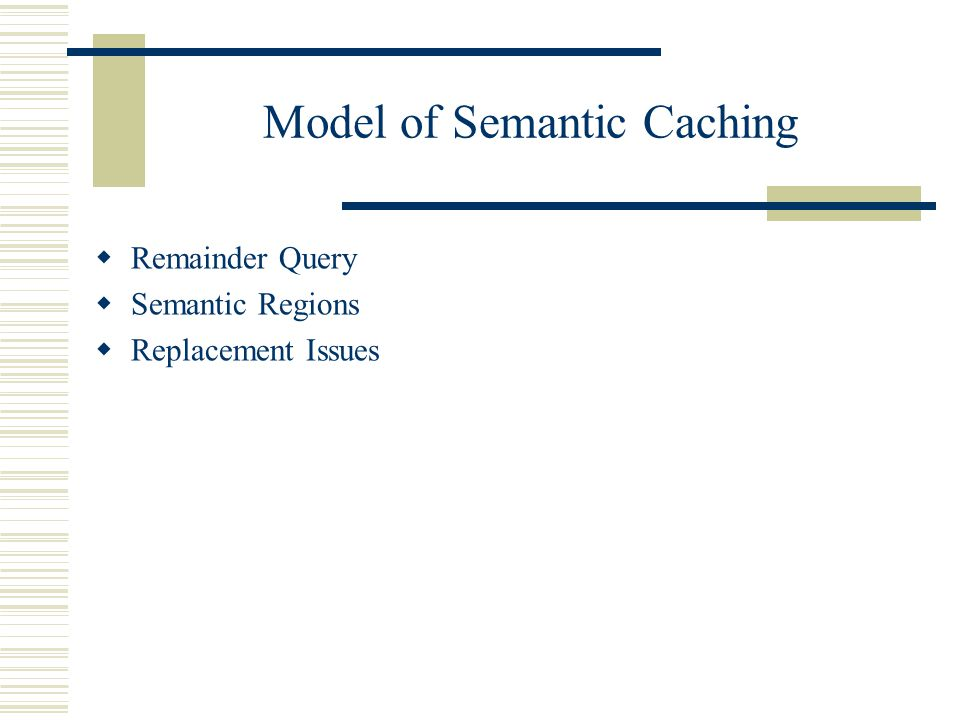 Model of Semantic Caching Remainder Query Semantic Regions Replacement Issues
